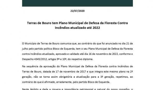 Comunicado - Terras de Bouro tem Plano Municipal de Defesa da Floresta Contra Incêndios atualizado até 2022
