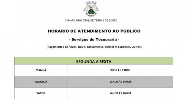 Alteração do Horário de Atendimento ao Público dos Serviços de Tesouraria Existentes no Centro Náutico de Rio Caldo